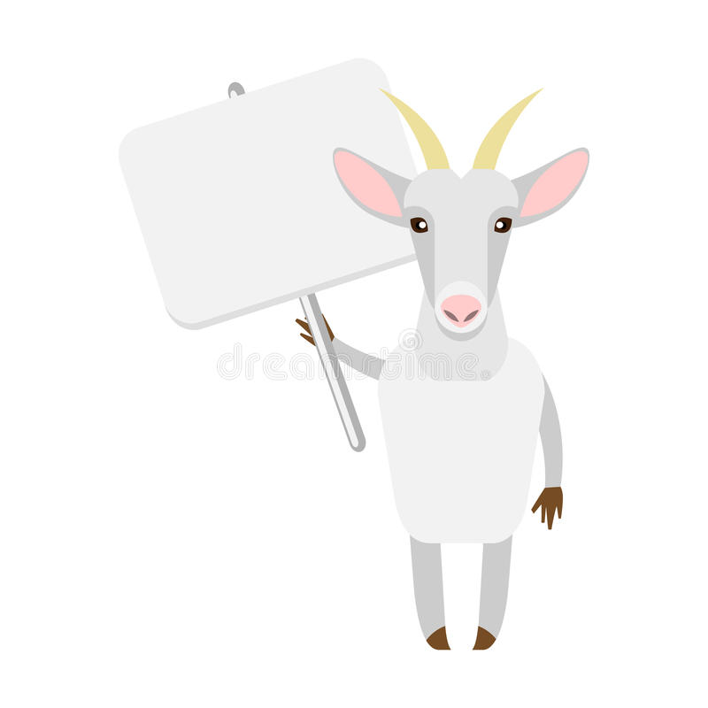 Goat with banner. Illustration of a goat on a white background royalty free illustration