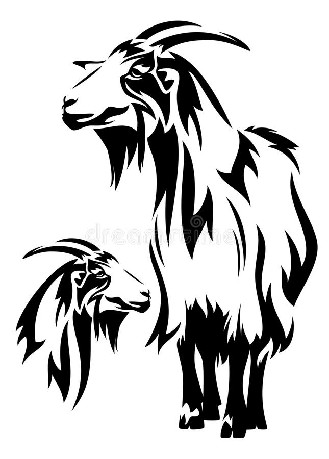 Goat. Black and white design (year 2015 symbol) - standing farm animal and head outline stock illustration