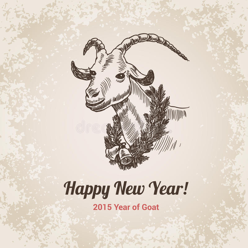 2015 Goat Chinese New Year handdrawn engraving style template. 2015 Goat Chinese New Year symbol hand drawn engraving style template for postcard, poster, banner royalty free illustration