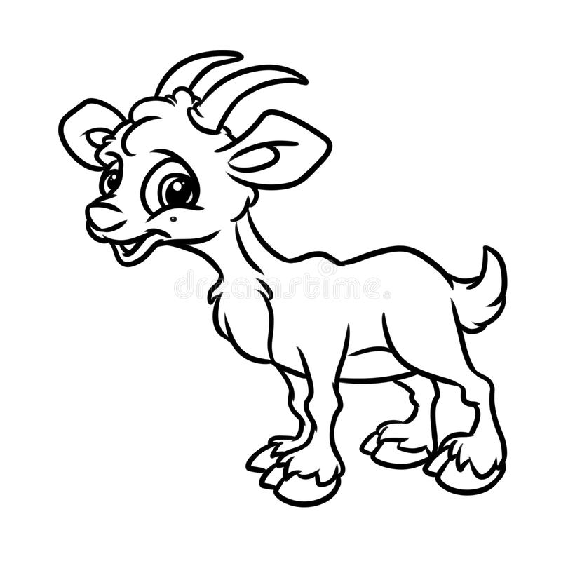 download goat coloring page animal cartoon stock illustration illustration of animal coloring 103369120 - Coloring Page Goat