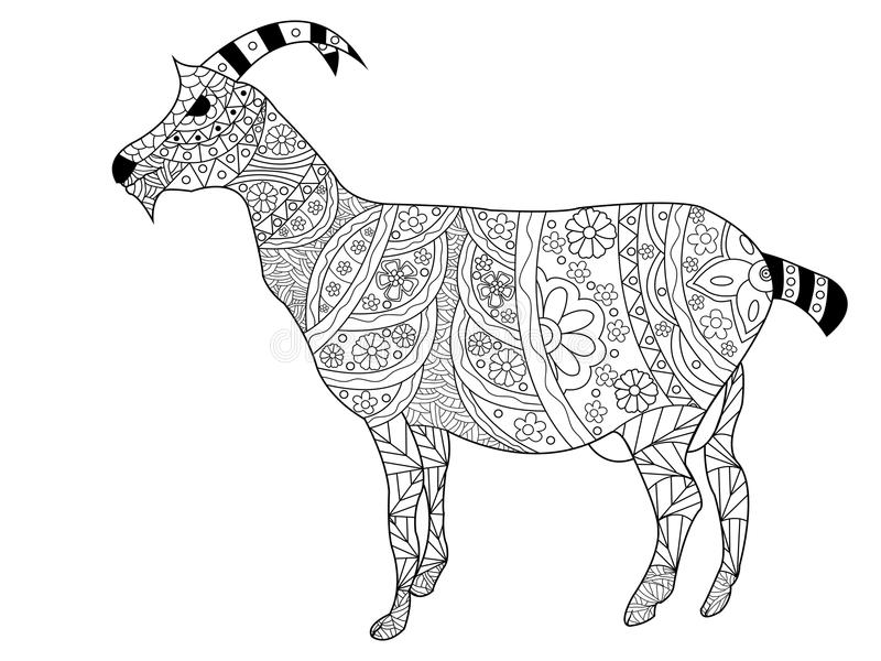 Download Goat Coloring Vector For Adults Stock