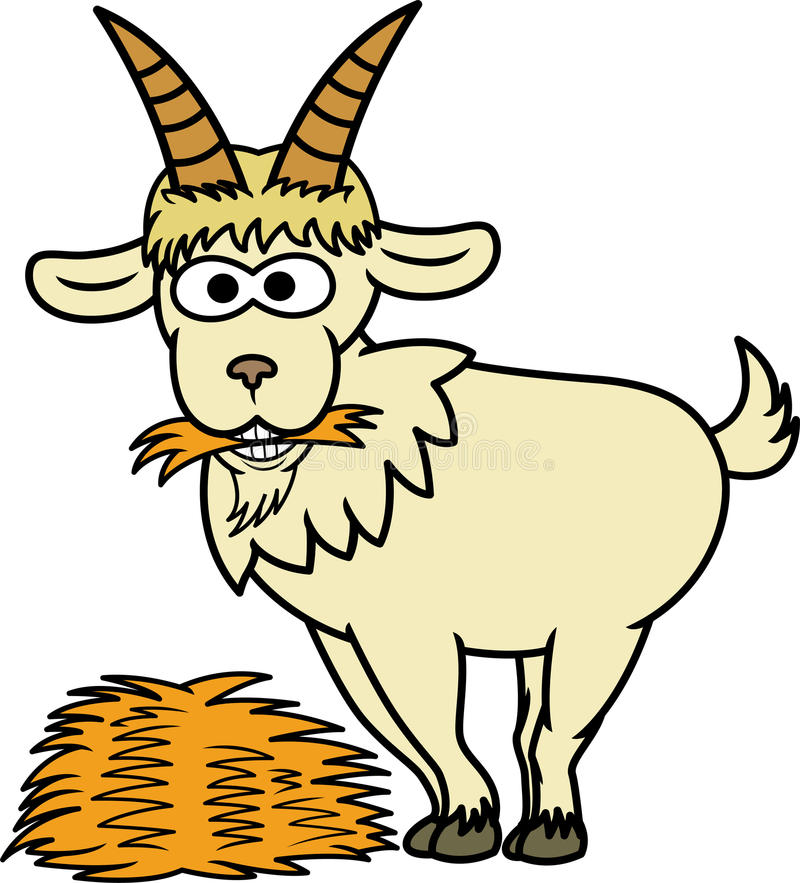Goat Eating Hay Cartoon Animal Character stock illustration