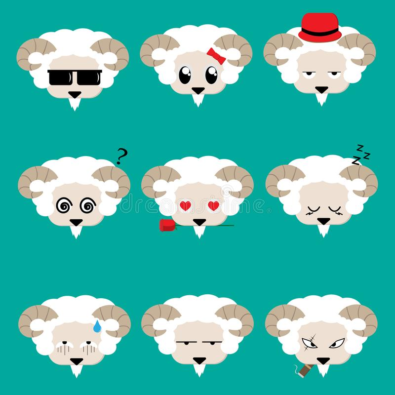 Goat face with 9 charactor design,vector and illustration. Set of goat face with 9 charactor design,vector and illustration vector illustration