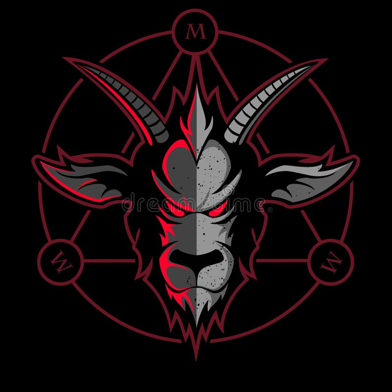 Free Goat Face, Stylized Heavy Metal Vector Symbol, Vector Goat Logo. Royalty Free Stock Image - 124872326