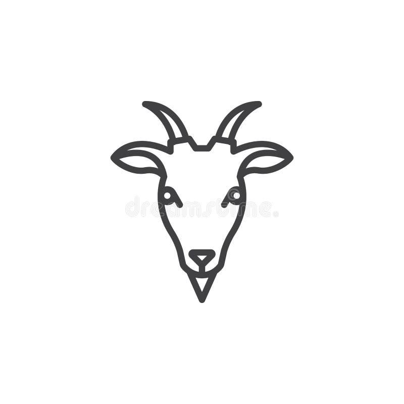 Goat head line icon, outline vector sign. Linear pictogram isolated on white. Symbol, logo illustration vector illustration