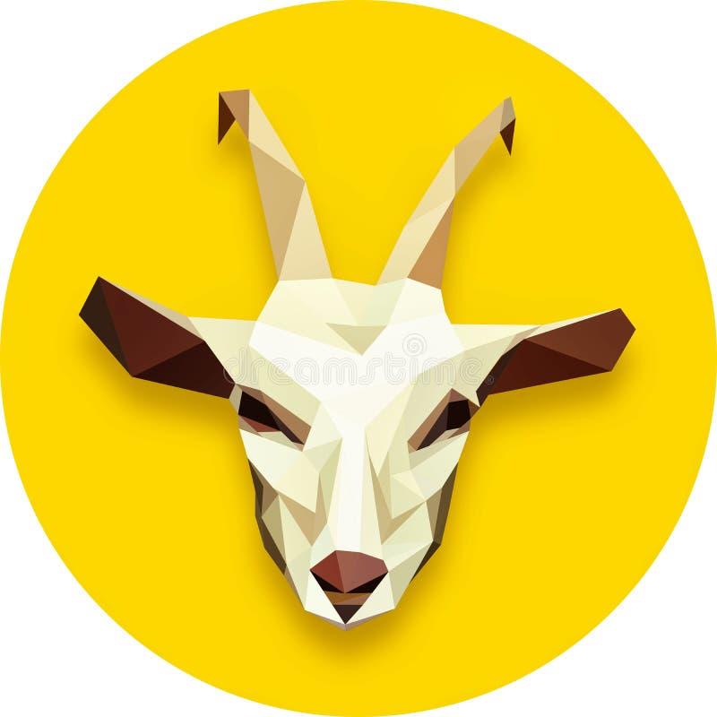 Goat head polygonal. In yellow circle stock illustration