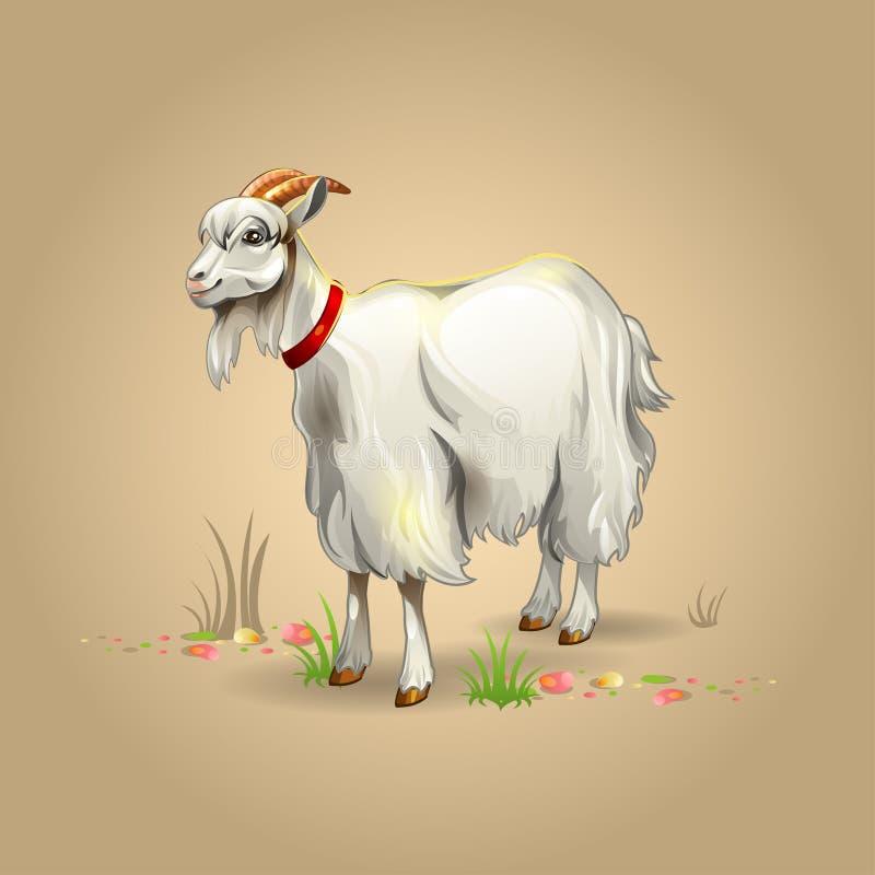 Goat. Illustration of white goat with shadow stock illustration
