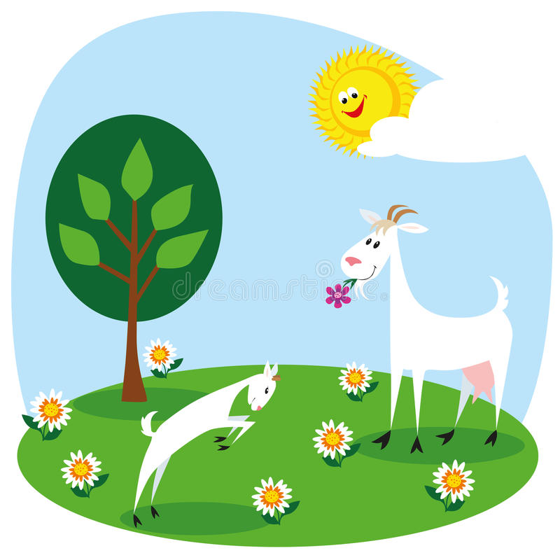 Download Goat and kid stock vector. Image of goat, meadow, child - 27458885