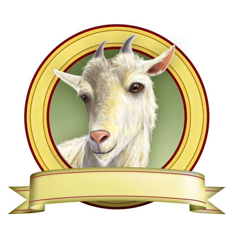 Goat label. Goat illustration suitable for food labels. Digital illustration royalty free illustration