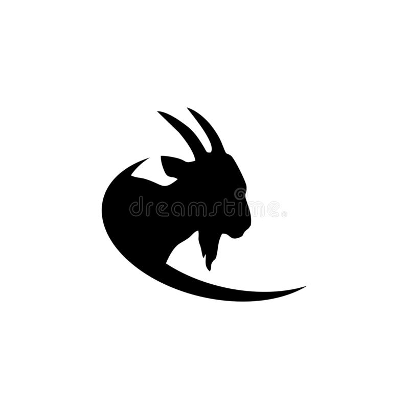 Goat logo icon design vector, design concept illustration. Capricorn, silhouette, abstract, agriculture, animal, art, background, black, business, cartoon royalty free illustration