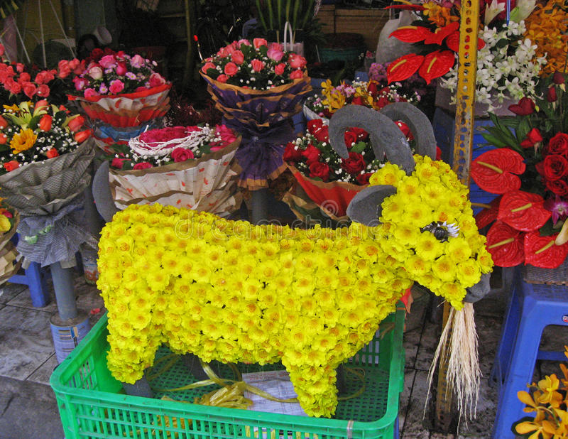 Goat Made Of Apricot Flowers For Vietnamese New Year Stock ...