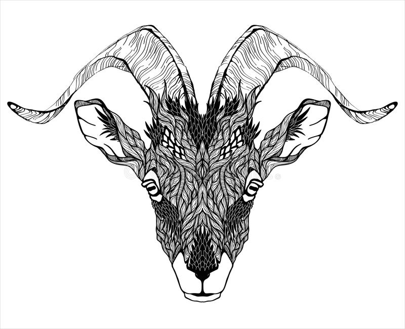 Goat Mascot Head tattoo. psychedelic stock illustration