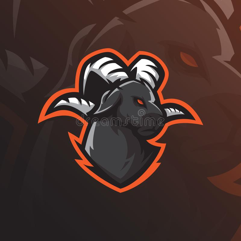 Goat mascot logo design vector with modern illustration concept style for badge, emblem and tshirt printing. goat head royalty free illustration