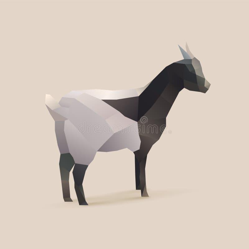 Goat. Polygonal illustration of goat, isolated royalty free illustration