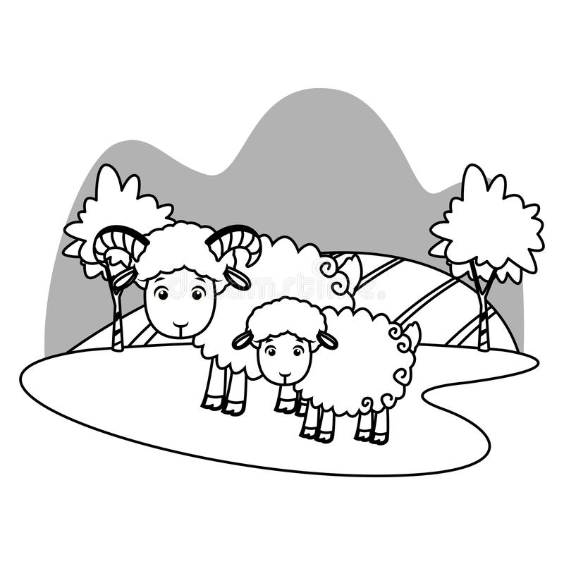 Goat with puppy in nature scenery cartoon in black and white. Goat with puppy in nature scenery cartoon vector illustration graphic design stock illustration