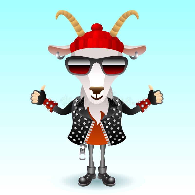 Goat rocker character. Funky rock shadow illustration stock illustration