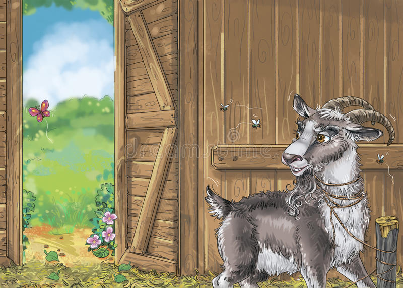 Goat in the shed stock illustration