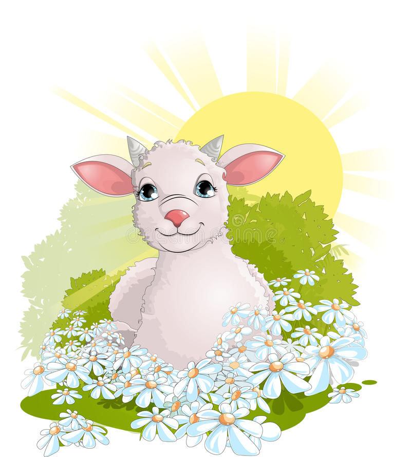 Goat. Small a lamb lying on a green meadow vector illustration