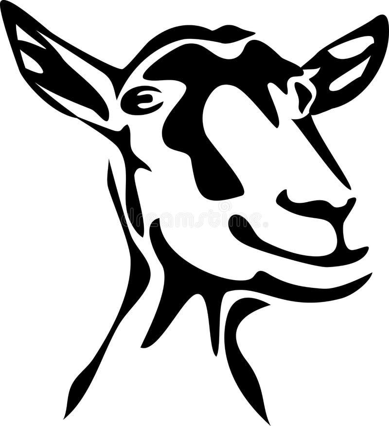 Goat. Stylized head of goat - black and white illustration stock illustration