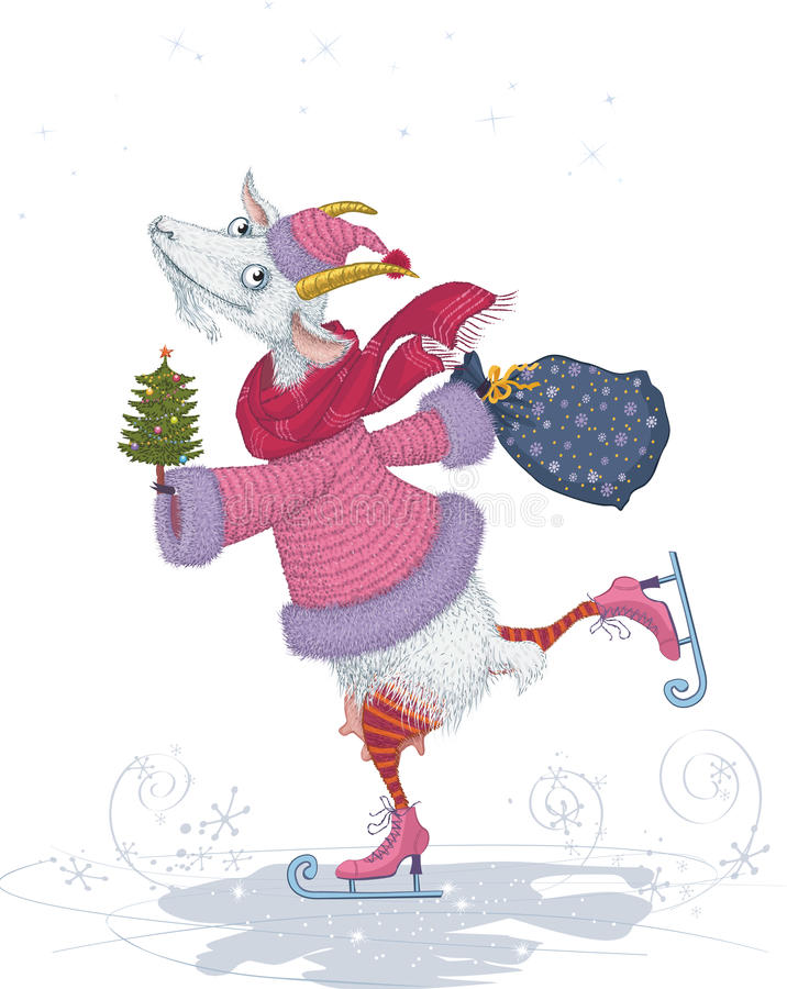 Goat. Vector illustration of a funny skater goat dressed in fur coat and cap with christmas tree and bag isolated on white background stock illustration