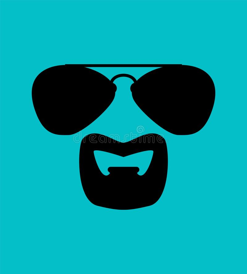Goatee Beard in Sunglasses isolated. Cool hairstyle vector illustration.  royalty free illustration
