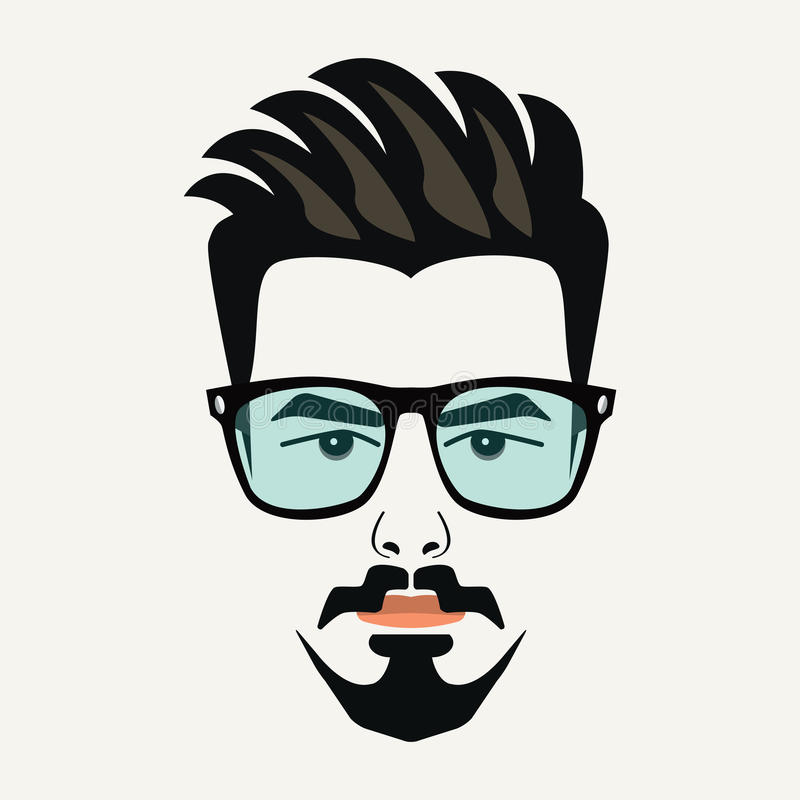Goatee beard young hipster male with blue lenses glasses. And highlighted hair vector illustration