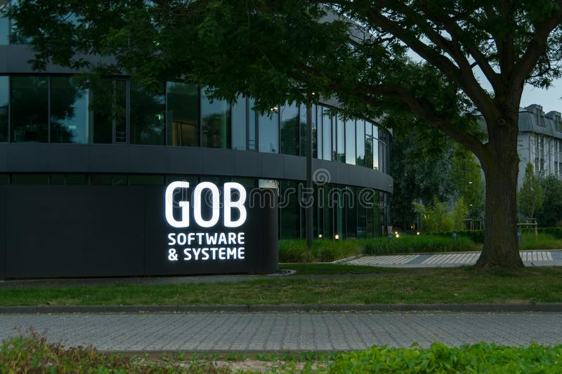 Krefeld 26th 2018: GOB software systems branch neon sign at entrance. GOB software systems branch neon sign at entrance stock photos