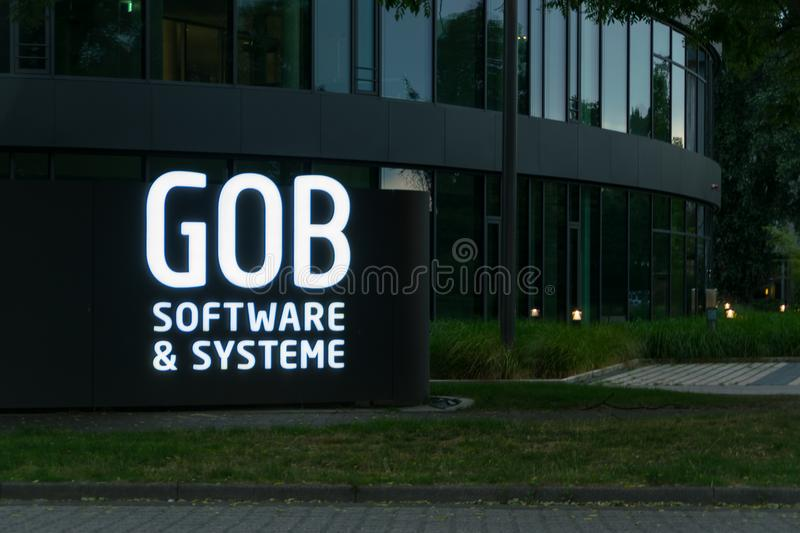 Krefeld 26th 2018: GOB software systems branch neon sign at entrance. GOB software systems branch neon sign at entrance royalty free stock photos