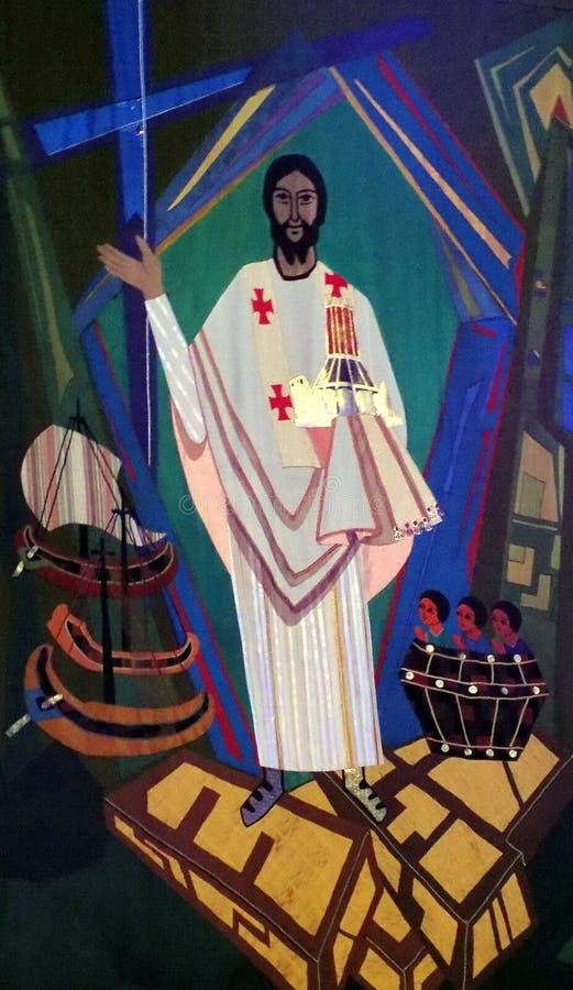 Gobeläng av Kristus i Liverpool den storstads- domkyrkan royaltyfria bilder