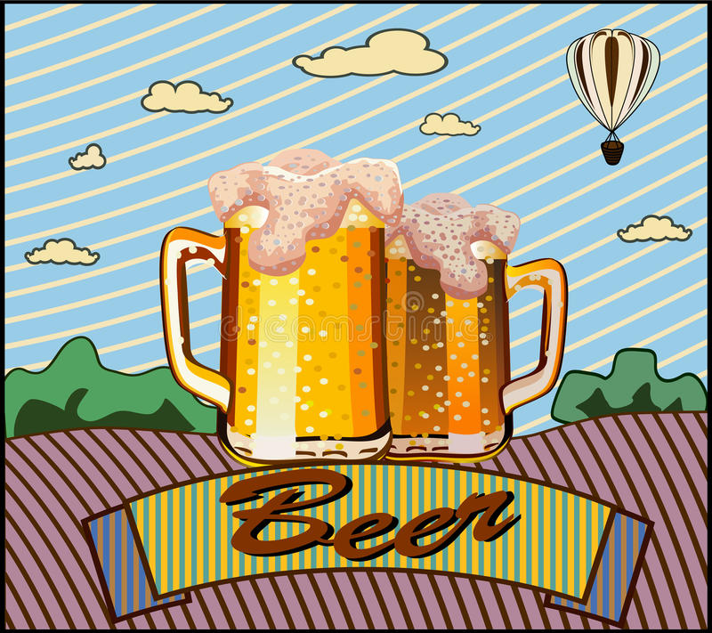 Gobelet en verre avec de la bière illustration de vecteur