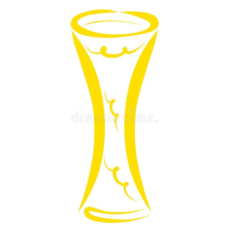 Gobelet ou vase jaune grand ou chandelier modelé illustration de vecteur