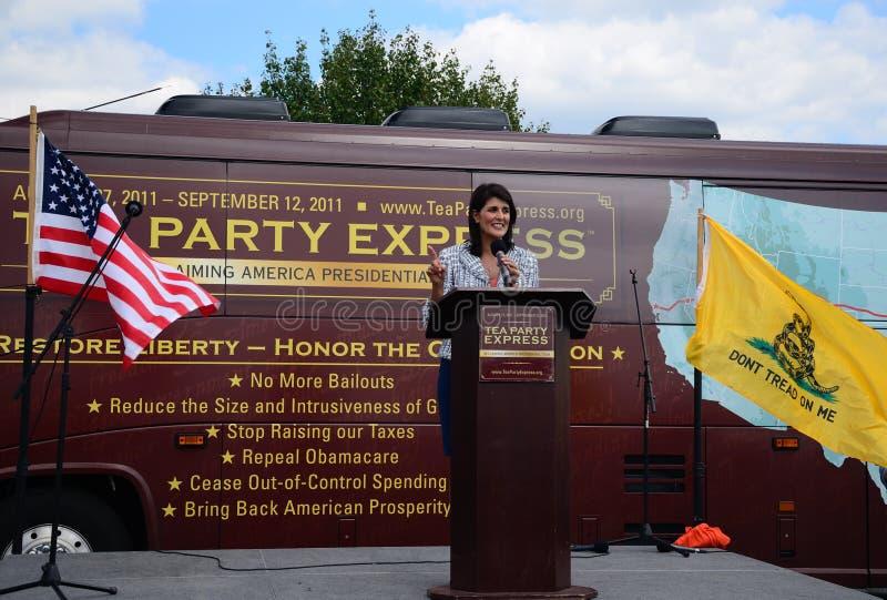 Gobernador Haley en la reunión expresa del partido de té imagen de archivo