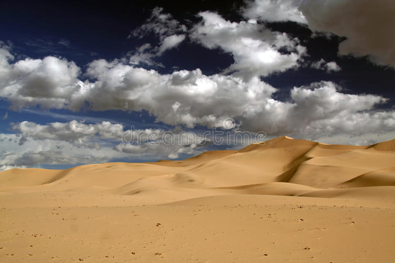 Gobi desert. Sand and clouds in the gobi desert in mongolia royalty free stock photography
