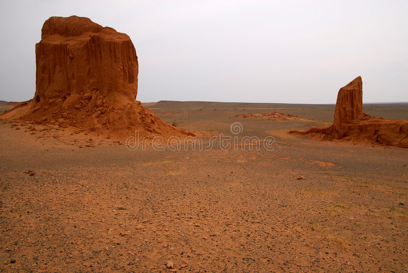 Gobi Desert, Mongolia. Weather-blown sandstone at the Flaming Cliffs, the northern Gobi Desert, in Mongolia stock photos