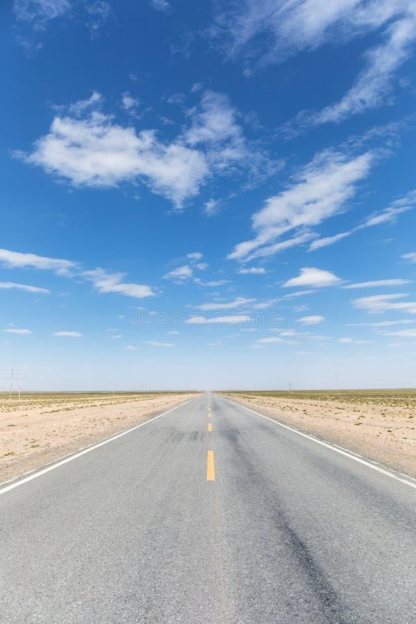 Gobi desert road. Tsaidam basin ,China stock image