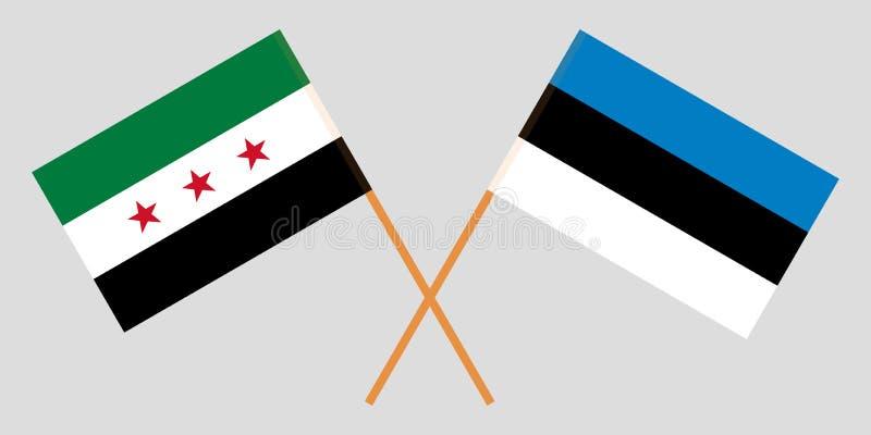 Gobierno provisional y Estonia de Siria La coalición siria y las banderas estonias Proporción oficial Colores correctos Vector stock de ilustración