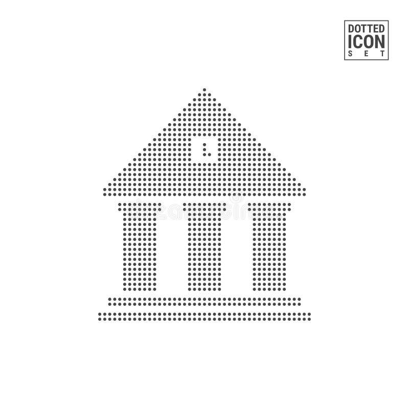 Gobierno que construye a Dot Pattern Icon Corte, icono punteado banco aislado en blanco Plantilla del fondo o del diseño del vect libre illustration