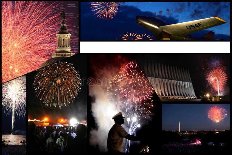 Gobierno y collage militar de las exhibiciones de los fuegos artificiales foto de archivo libre de regalías