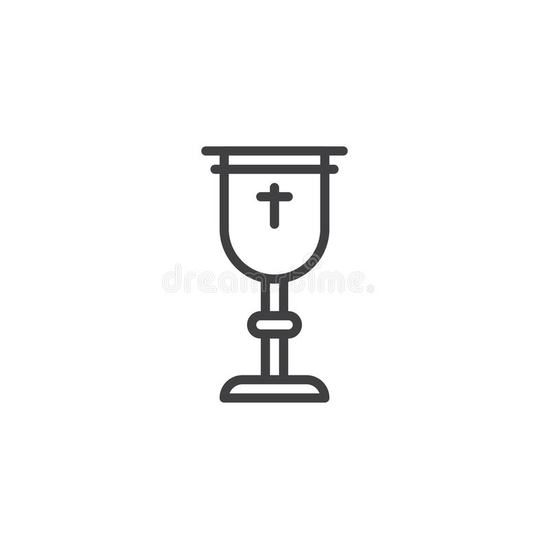 Goblet with holy cross line icon royalty free illustration