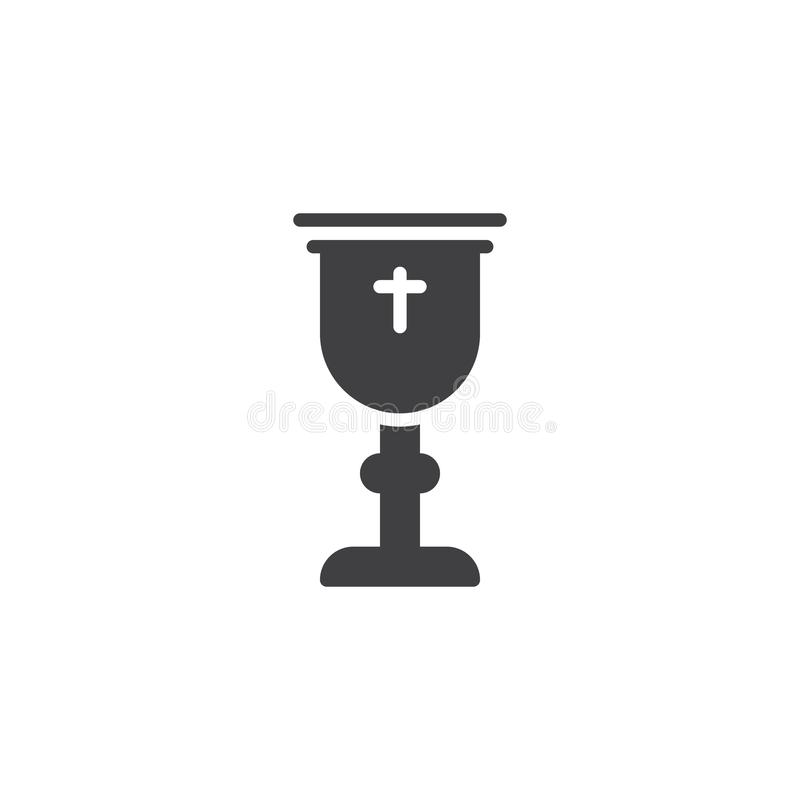 Goblet with holy cross vector icon stock illustration