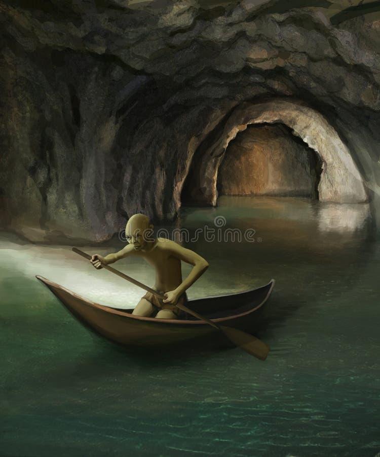 Goblin in barca sul lago sotterraneo illustrazione di stock