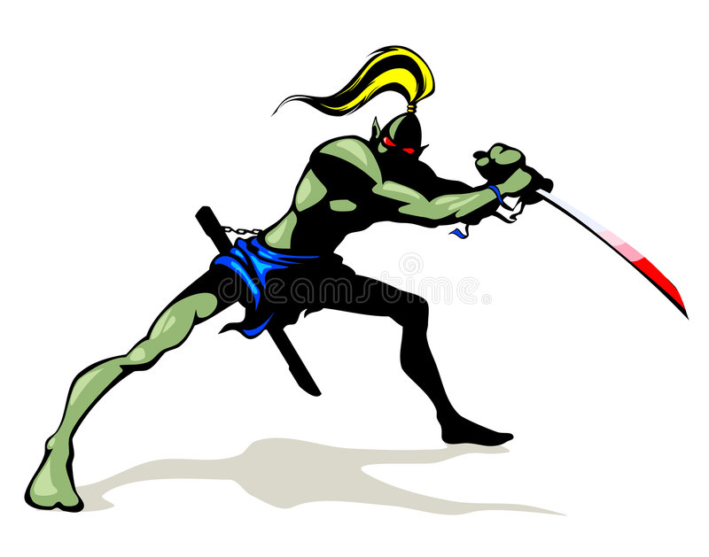 Goblin with brush sword. This image is a vector illustration and can be scaled to any size without loss of resolution vector illustration