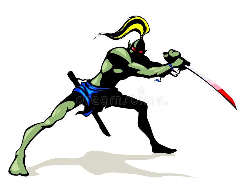 Goblin con la espada del cepillo ilustración del vector