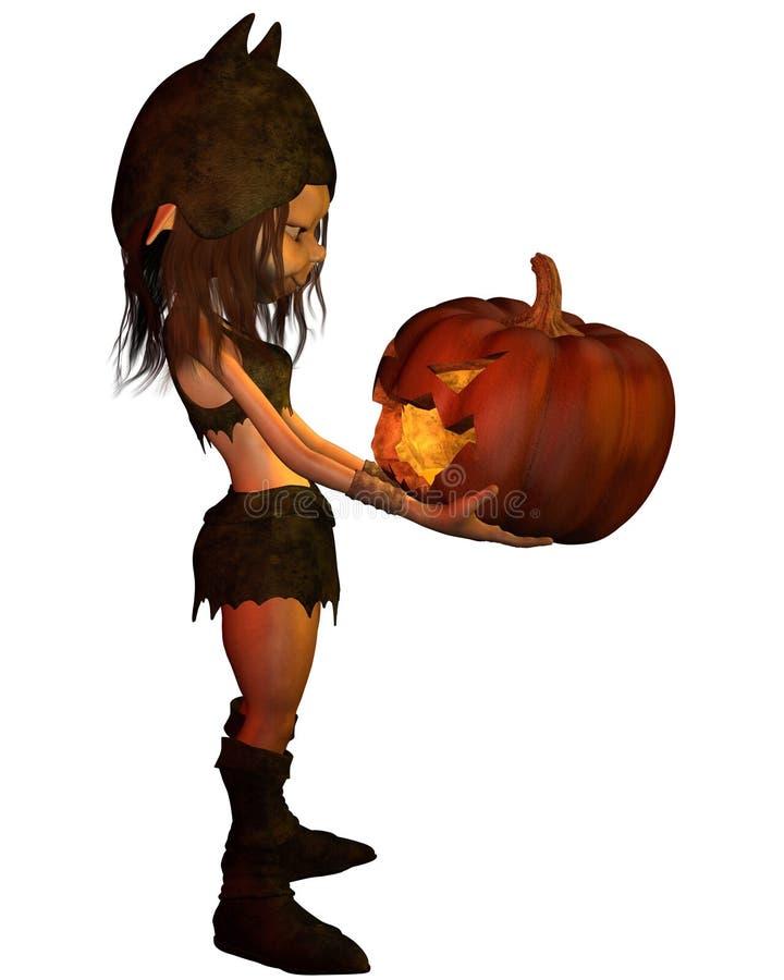Goblin Girl with Pumpkin Lantern