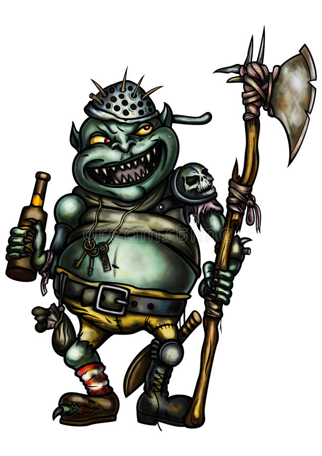 Goblin Guard. Illustration a scary goblin warder dressed in trash equipment, with an axe, holding a bottle of beer vector illustration
