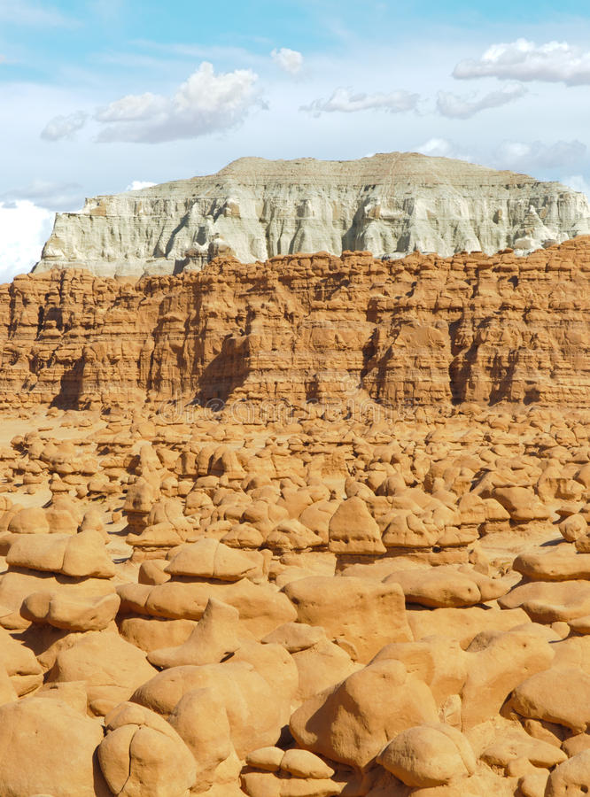 Goblin Valley rock formations and mesas. Goblin Valley State Park rock formations and mesas royalty free stock photo