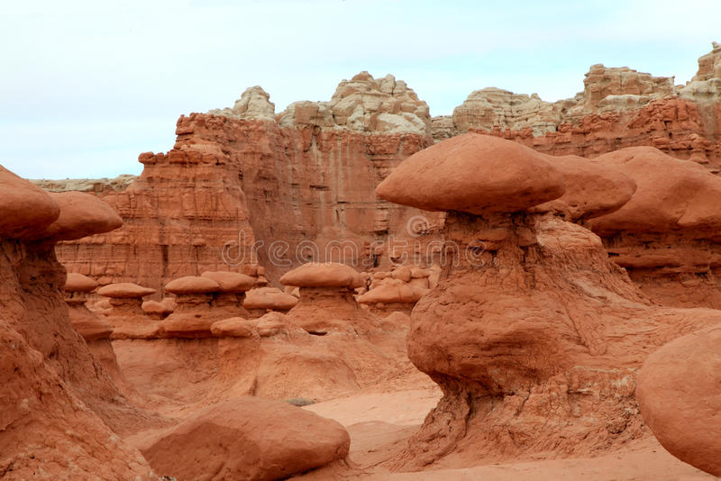 Goblins at goblin valley state park, utah royalty free stock photography