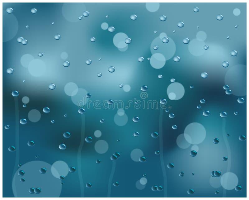 Gocce dell'acqua su vetro illustrazione vettoriale