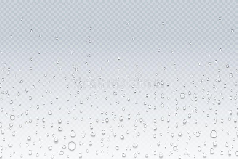 Gocce dell'acqua su vetro Goccioline della pioggia sulla finestra trasparente, modello di condensazione del vapore, vetro della d illustrazione di stock