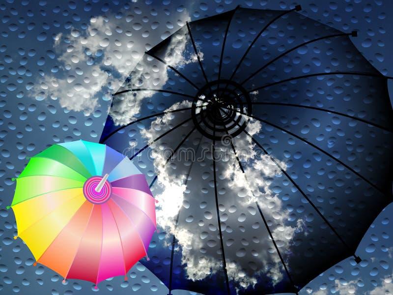 Gocce di acqua delle nuvole e un ombrello con un ombrello dell'arcobaleno illustrazione astratta di vettore illustrazione di stock